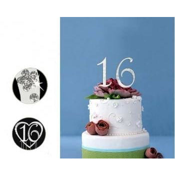 Monogram Gold - Silver Rhinestone 16 Sweet Sixteen Cake Topper with Swarovski Crystal