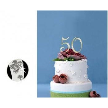 Monogram Gold Rhinestone 50th Anniversary Cake Topper with Swarovski Crystal