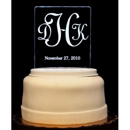 Monogram Light-Up Wedding Cake Topper
