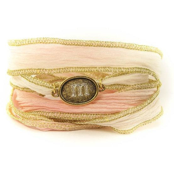 Monogram Oval Jewelry, Silk Wrap Bracelet