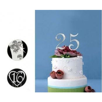 Monogram Silver Rhinestone 25th Anniversary Cake Topper with Swarovski Crystal