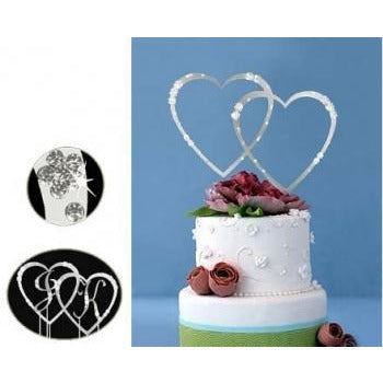 Monogram Silver Rhinestone Double Hearts Wedding Cake Topper with Swarovski Crystal