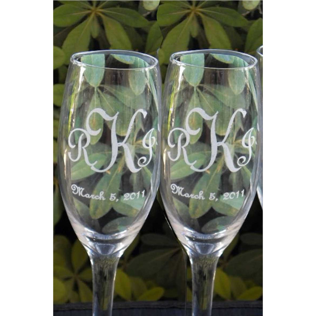 Monogram Toasting Wedding Champagne Glass Flutes (Pair)