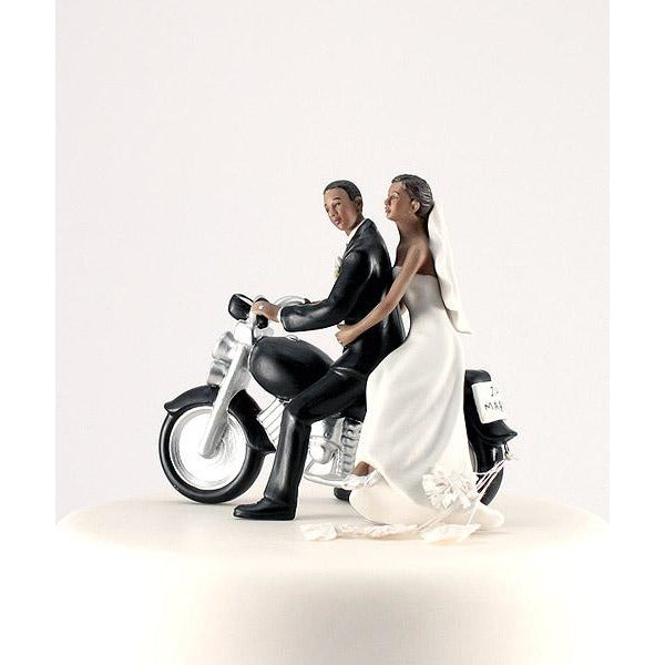 "Motorcycle ""Get-away"" Wedding Cake Topper Figurine -Dark Skin Tone"