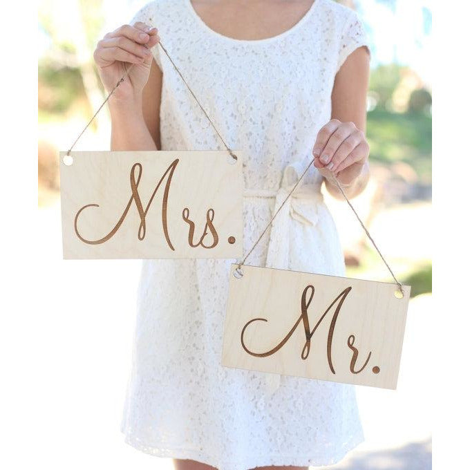 Mr & Mrs Wedding Chair Signs Rustic