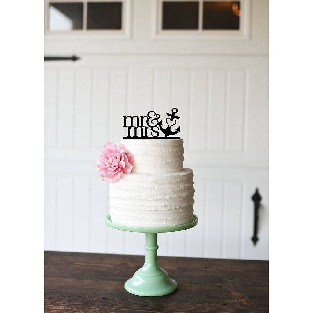 Mr & Mrs with Anchor Wedding Cake Topper - Nautical Beach Cake Topper
