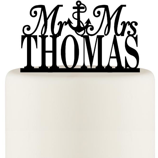 Mr and Mrs Anchor Wedding Cake Topper - Nautical Anchor Cake Topper