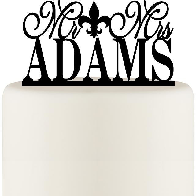 Mr and Mrs Fleur De Lis Wedding Cake Topper Personalized with YOUR Last Name
