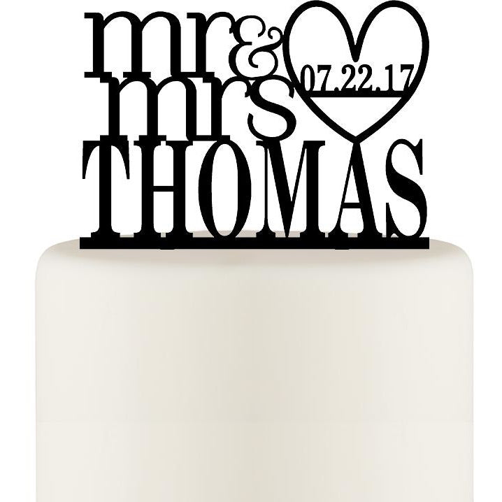 Mr and Mrs Heart Wedding Cake Topper with Your Last Name and Wedding Date