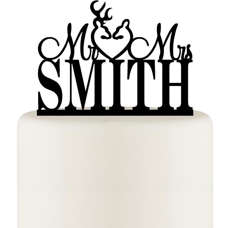 Mr and Mrs Wedding Cake Topper Buck and Doe Deer with YOUR Last Name
