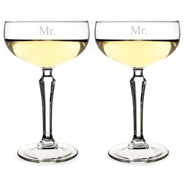 Mr. & Mr. Champagne Coupe Toasting Flutes