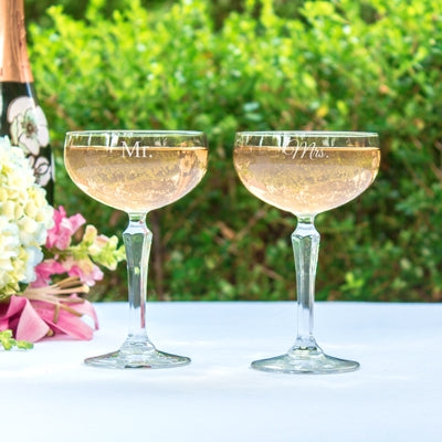 Mr. & Mrs. Champagne Coupe Toasting Flutes