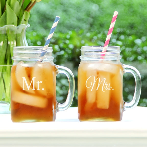 Mr. & Mrs. Old Fashioned Drinking Jar Set