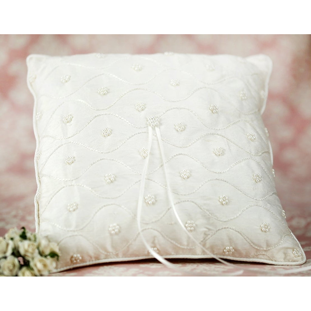 Off White Raw Silk and Pearl Wedding Ring Bearer Pillow