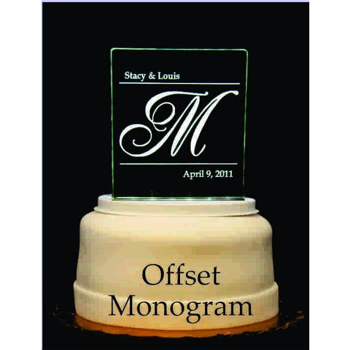 Offset Monogram Initial Light-Up Wedding Cake Topper