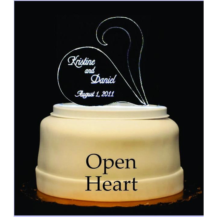 Open Heart Light-Up Wedding Cake Topper