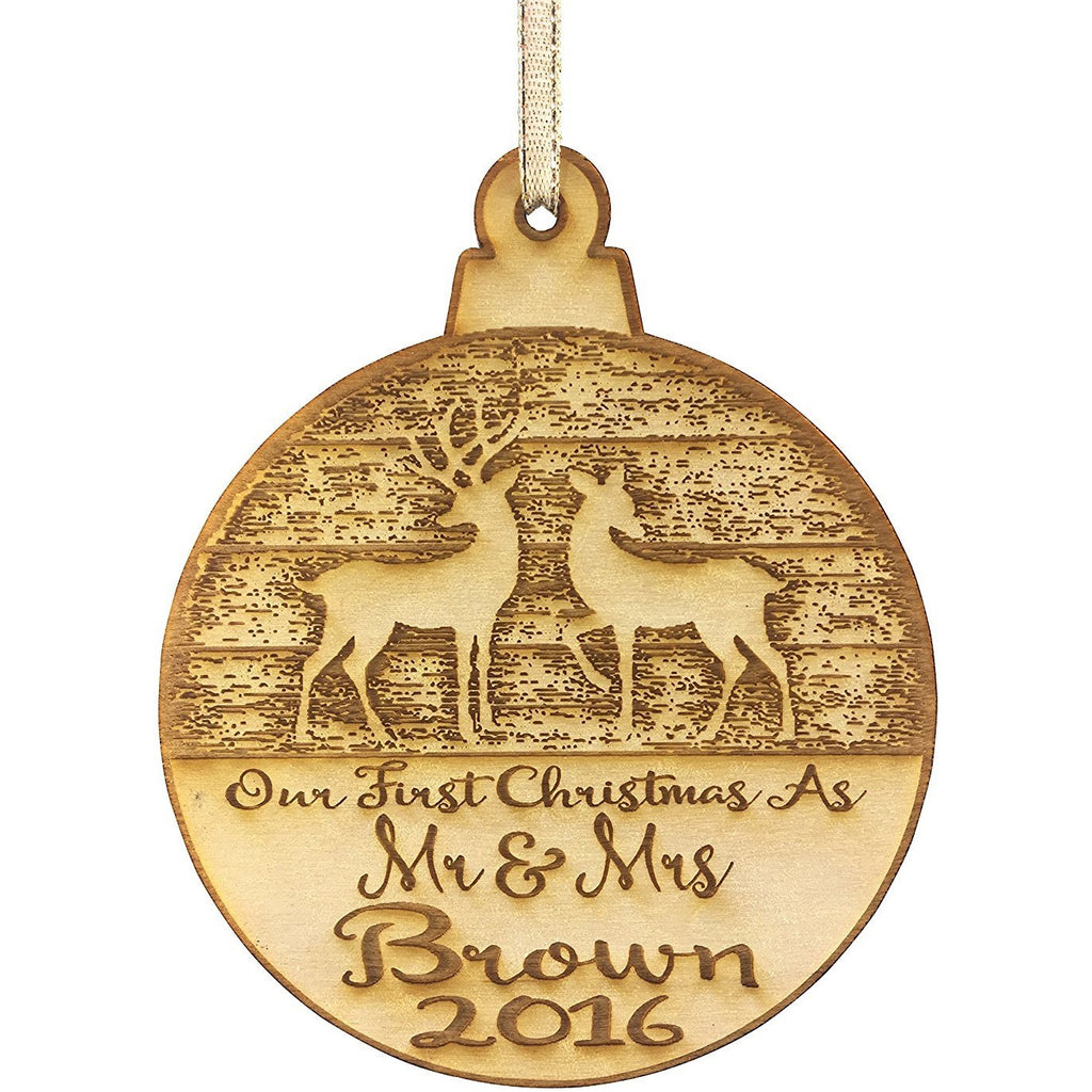 Our First Christmas Married Mr & Mrs Personalized Christmas Ornament - Newlywed Reindeer Design- Year Name Engraved Our First Christmas Gift Engagement Holiday Together Wood Custom Personalized