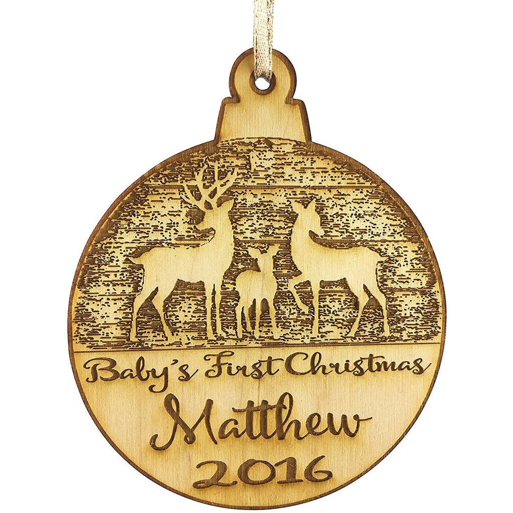 Baby's First Christmas Personalized Christmas Ornament - New Born Reindeer Design- Year and Baby's Name Engraved Baby First Christmas Gift Baby Shower Holiday Wood Custom Personalized