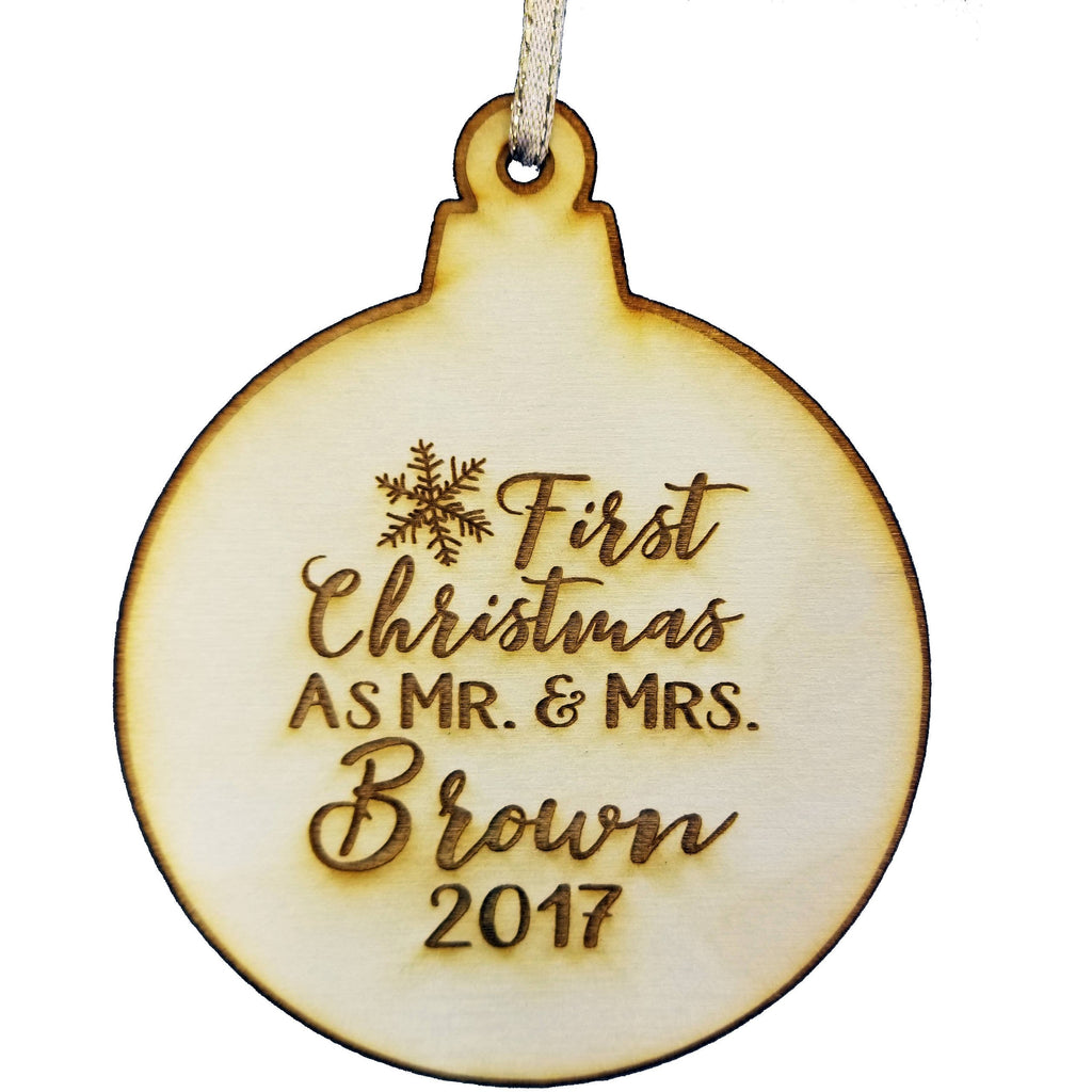 Our First Christmas Married Mr & Mrs Personalized Christmas Ornament - Snowflake Design- Year Name Engraved Our First Christmas Gift Engagement Holiday Together Wood Custom Personalized