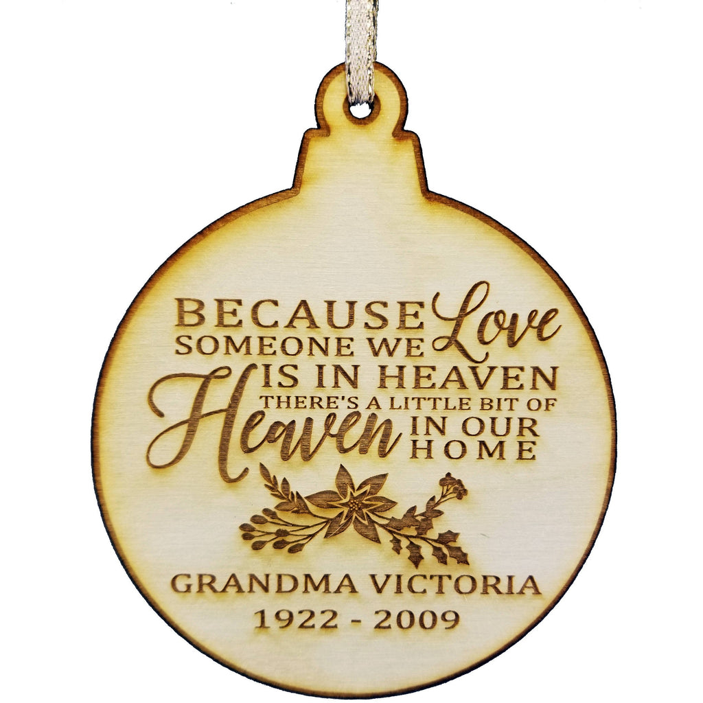 Personalized Memorial Wood Christmas Ornament - Christmas In Heaven - Memorial Gifts - Sympathy Gifts - Loss Of A Loved One - Christmas Gift Holiday Wood Custom Personalized