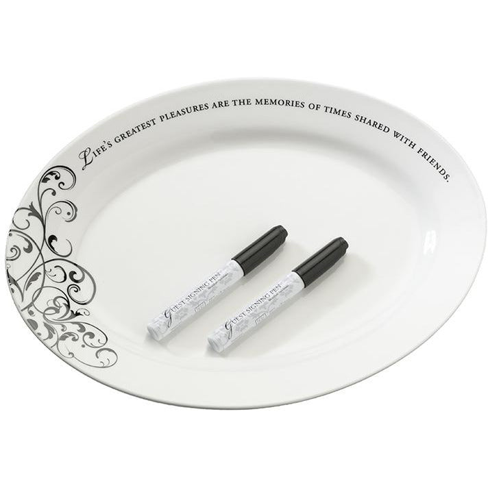 Oval Ceramic Signing Plate w/Verse