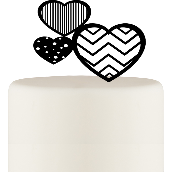 Chevron Stripe and Polka Dot Hearts Wedding Cake Topper