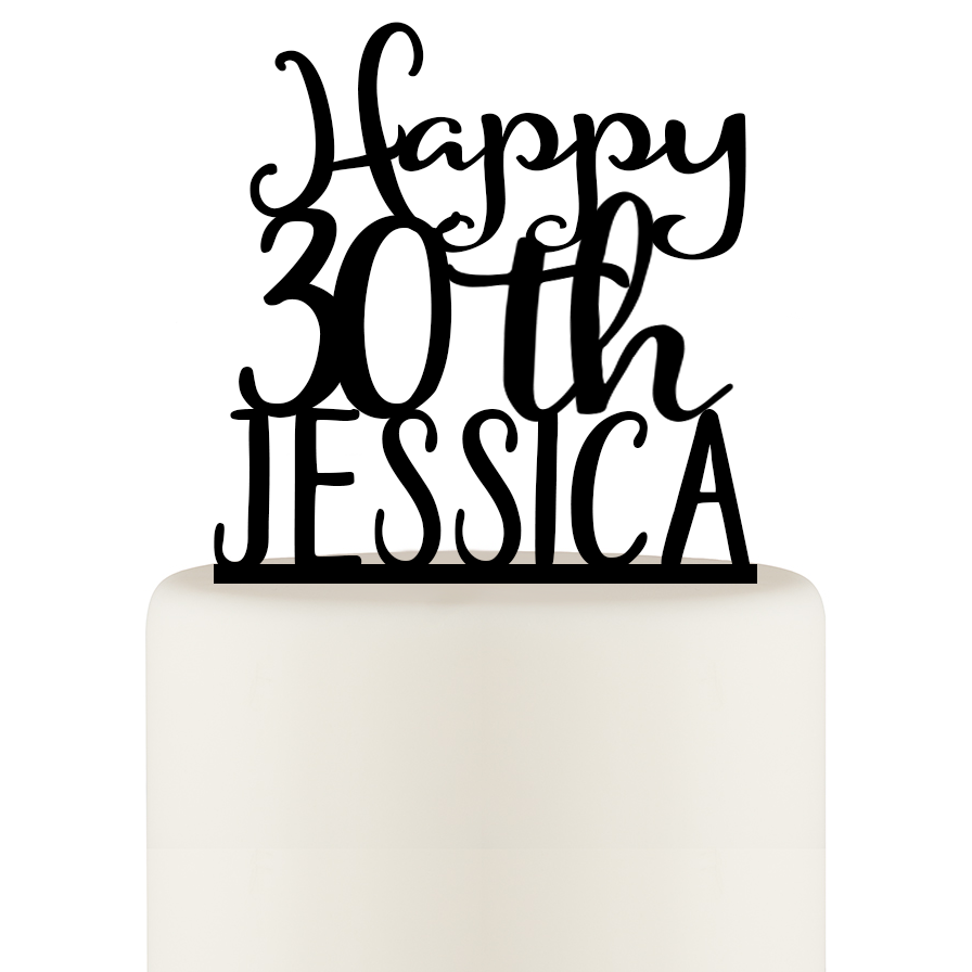 30th Birthday Cake Topper - Happy 30th Cake Topper Personalized with Name