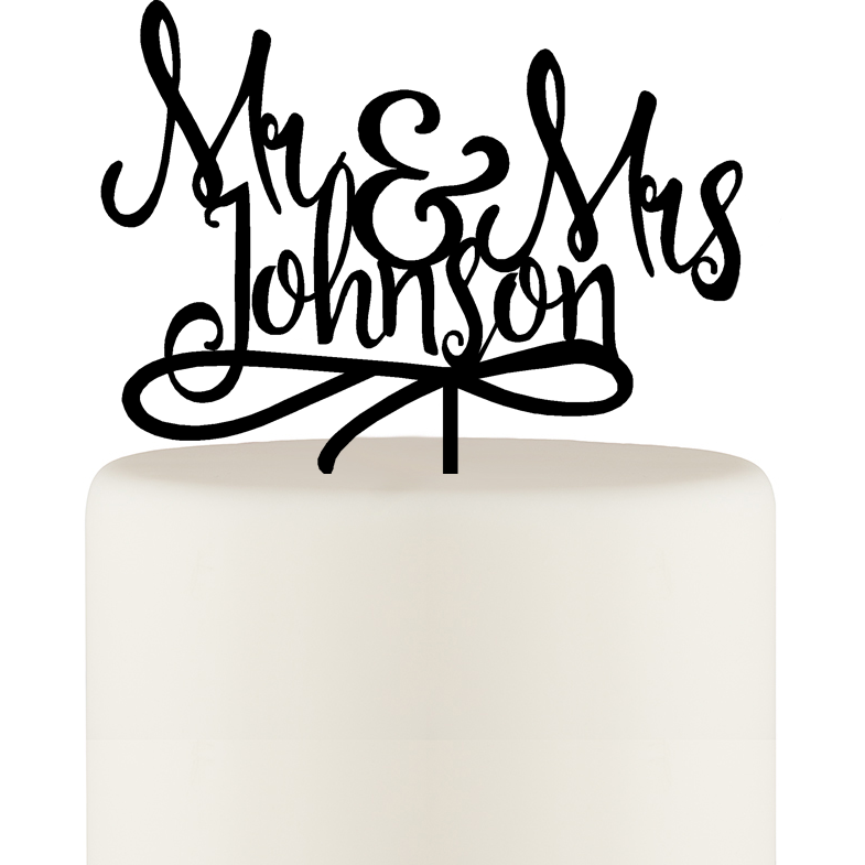 Wedding Cake Topper - Mr & Mrs Cake Topper - Last Name Wedding Cake Topper