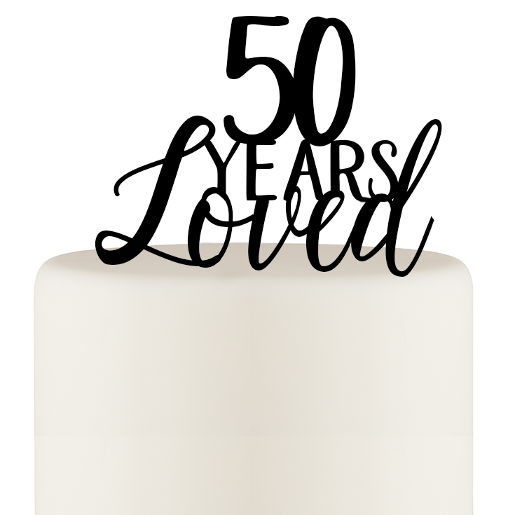 50 Years of Love Cake Topper - 50th Anniversary Cake Topper