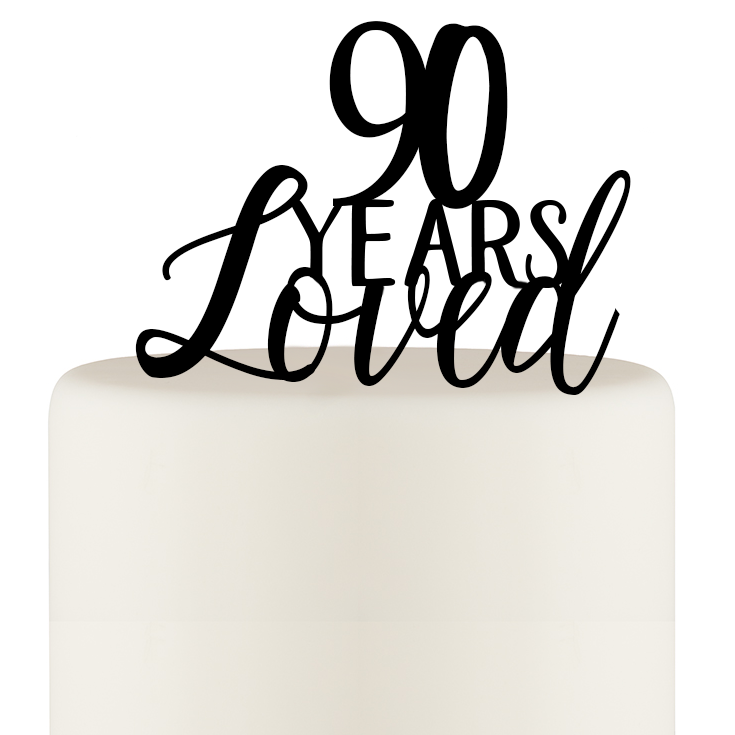 90 Years Loved Cake Topper - 90th Birthday Cake Topper