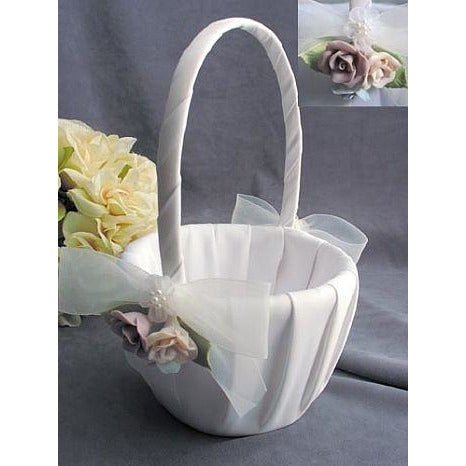 Pastel Porcelain Rose Wedding Flowergirl Basket