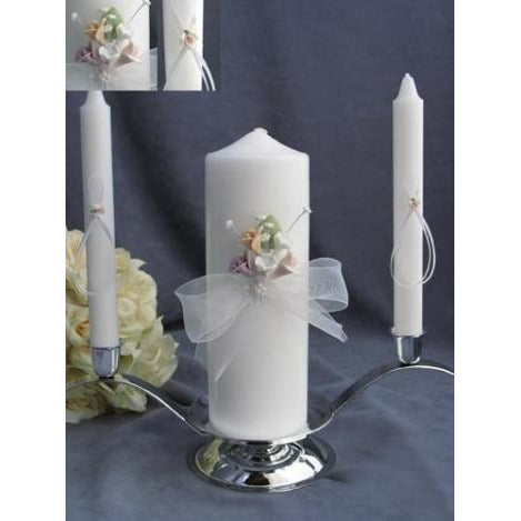 Pastel Porcelain Rose Wedding Unity Candle Set
