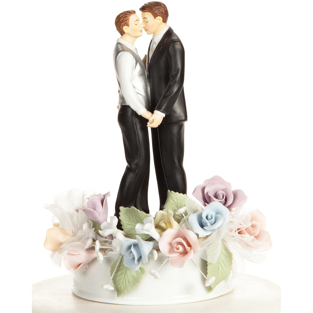 Pastel Rose Gay Wedding Cake Topper