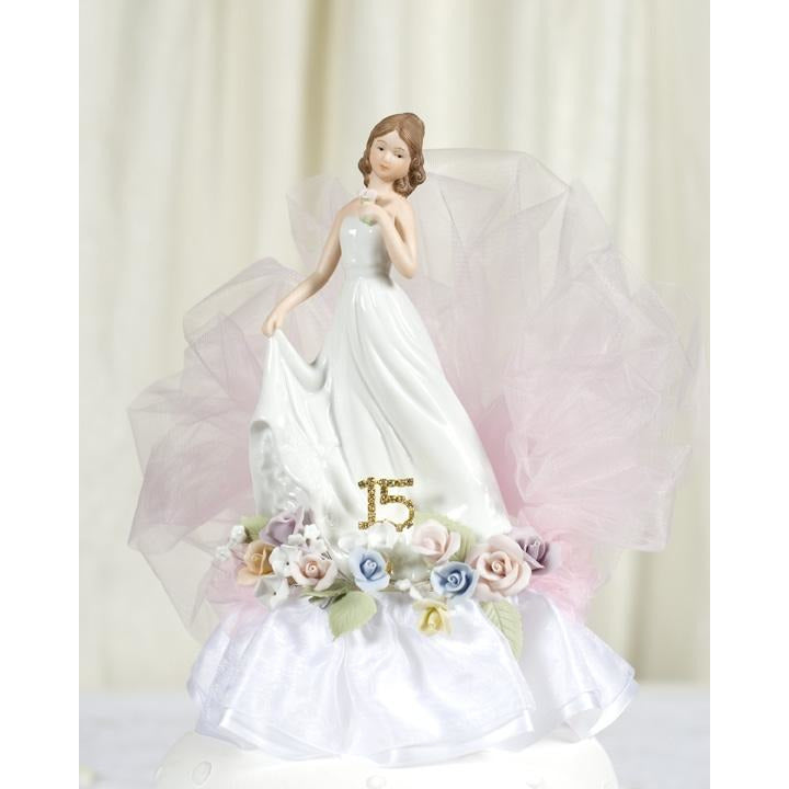 Pastel Rose Porcelain Quinceanera Cake Topper