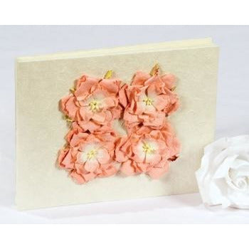 Peach Rose Natural Paper Wedding Guestbook