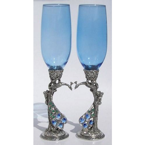 Peacock Heart Wedding Toasting Glasses Set