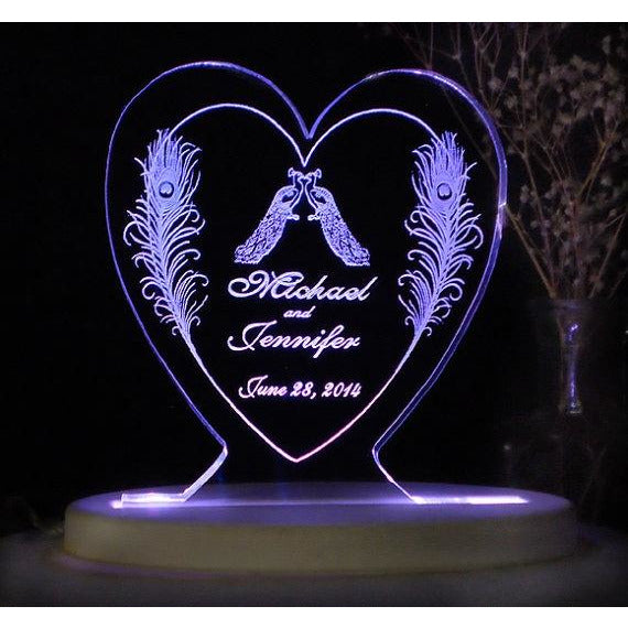 Peacock Love Light-Up Wedding Cake Topper Two Feathers