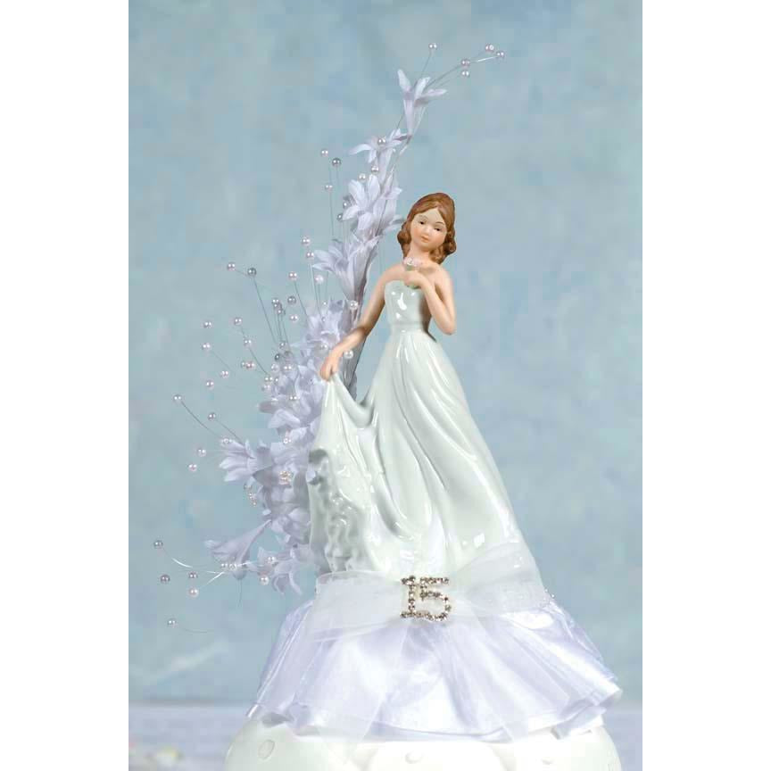 Pearl Arch Porcelain Quinceanera Cake Topper