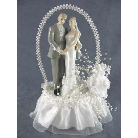 Pearl Elegance Arch Bride and Groom Cake Topper