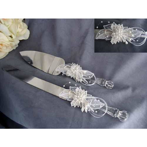 Pearl Elegance Wedding Cake Server Set