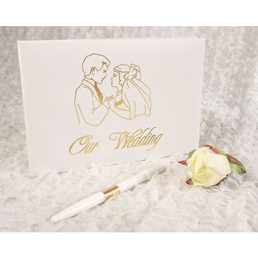 Vintage 1970's Wedding Guestbook with Pen