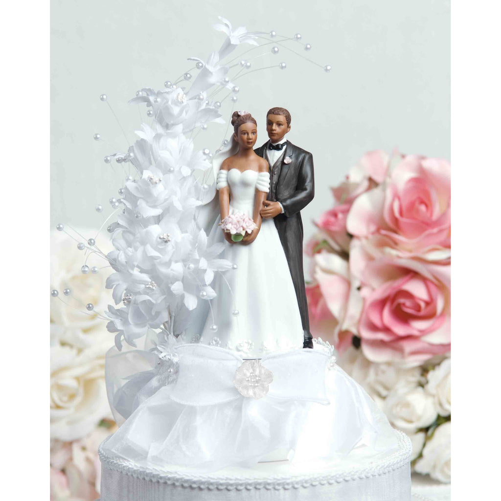 Pearl Side Arch Classic African American Cake Topper