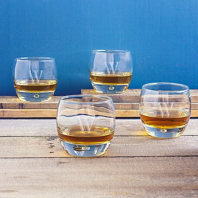 Personalized 10.75 oz. Heavy Based Whiskey Glasses (Set of 4)