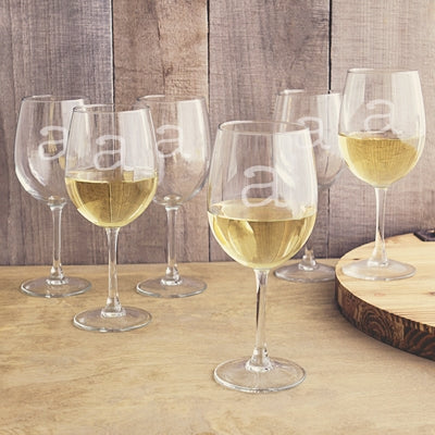 Personalized 12 oz. White Wine Glasses (Set of 6)