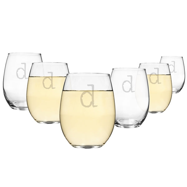 Personalized 15 oz. Stemless Wine Glasses (Set of 6)