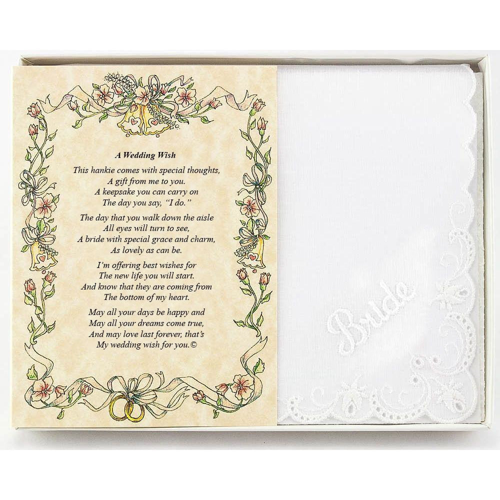 Personalized A Wedding Wish (From Friend or Family to the Bride) Wedding Handkerchief