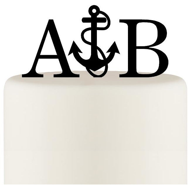 Personalized Anchor with Rope Nautical Monogram Wedding Cake Topper with YOUR Initials