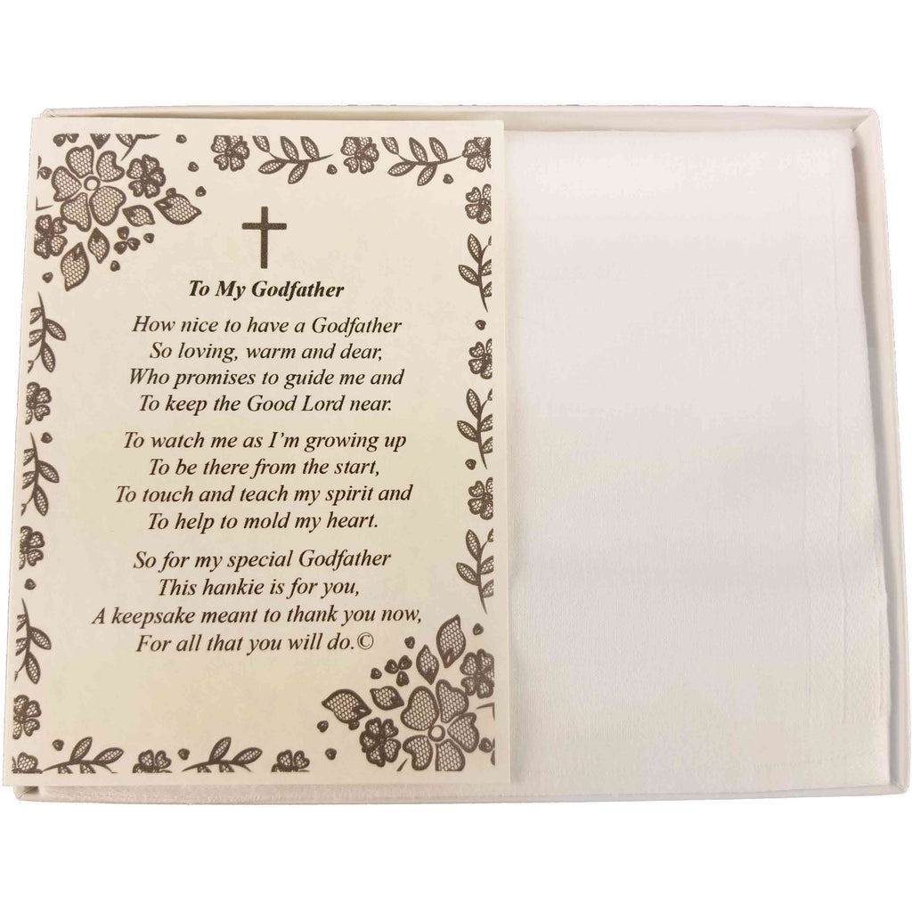 Personalized Baptism Christening Dedication To My Godfather Poetry Handkerchief - Hankies Gift Keepsake