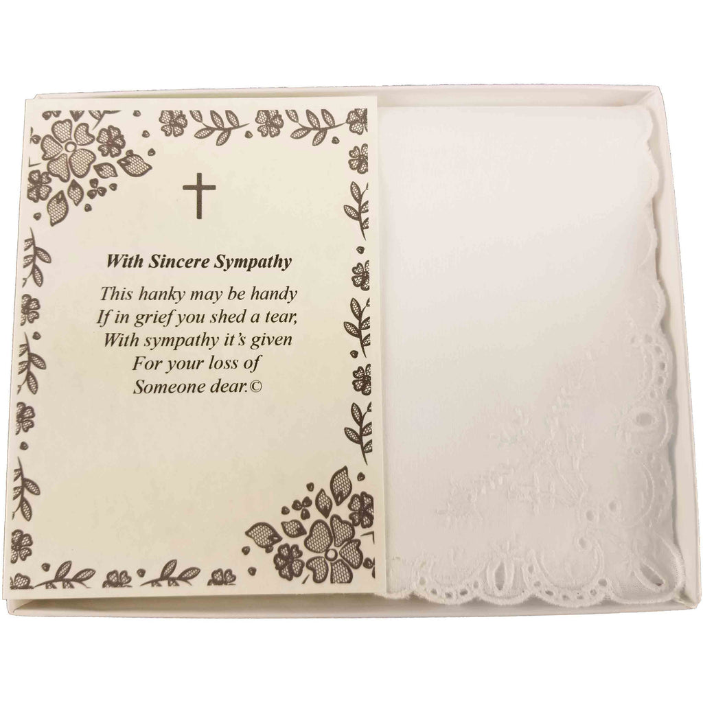 Personalized Sympathy Bereavement Christian Religious with Cross Poetry Woman's Handkerchief Gift Keepsake Ideas for Loved One