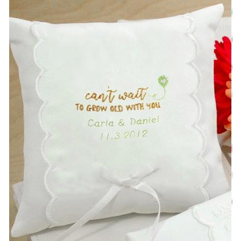 Personalized Can't Wait To Grow Old With You Wedding Ring Pillow